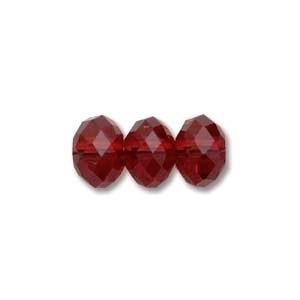 Swarovski Crystal 8mm Rondell Bead 5040 - Siam - Deep Red - Transparent Finish