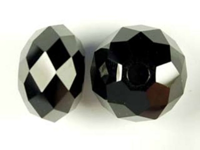 Swarovski Crystal 18mm Large Hole Rondell Bead 5041 with 3mm Hole - Jet - Black - Opaque Finish