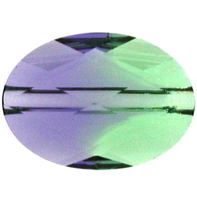 Swarovski Crystal 10 x 14mm Faceted Flat Oval Bead  - Provence Lavender Chrysolite Blend - Transparent Finish   Swarovski 5050