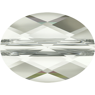 Swarovski Crystal 6 x 8mm Faceted Flat Mini Oval Bead 5051 - Crystal Silver Shade - Transparent Finish