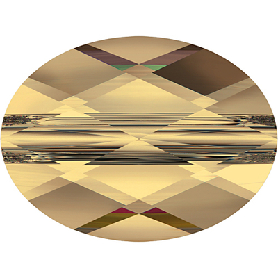 Swarovski Crystal 6 x 8mm Faceted Flat Mini Oval Bead 5051 - Crystal Golden Shadow - Transparent Finish