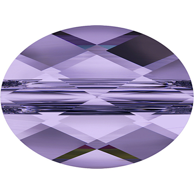 Swarovski Crystal 6 x 8mm Faceted Flat Mini Oval Bead 5051 - Tanzanite - Transparent Finish