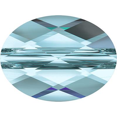 Swarovski Crystal 8 x 10mm Faceted Flat Mini Oval Bead 5051 - Aquamarine - Transparent Finish