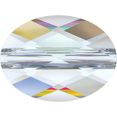Swarovski Crystal 8 x 10mm Faceted Flat Mini Oval Bead 5051 - Crystal AB - Transparent Iridescent Finish