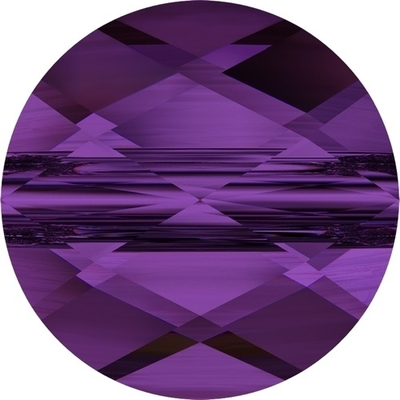 Swarovski Crystal 6mm Faceted Flat Mini Round Bead 5052 - Amethyst - Transparent Finish