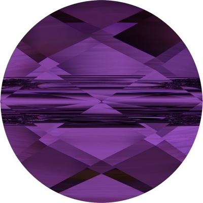 Swarovski Crystal 6mm Faceted Flat Mini Round Bead 5052 - Amethyst - Transparent Finish