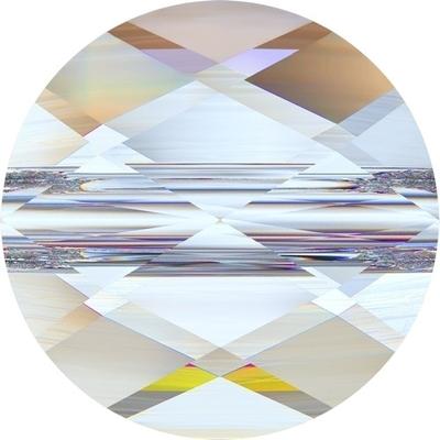 Swarovski Crystal 6mm Faceted Flat Mini Round Bead 5052 - Crystal AB - Transparent Iridescent Finish