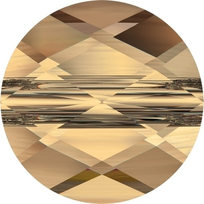 Swarovski Crystal 6mm Faceted Flat Mini Round Bead 5052 - Crystal Golden Shadow - Transparent Finish