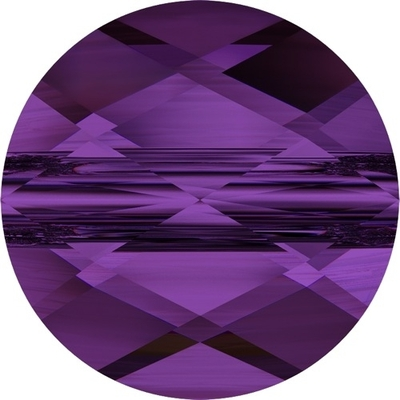 Swarovski Crystal 8mm Faceted Flat Mini Round Bead 5052 - Amethyst - Transparent Finish