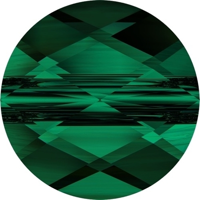 Swarovski Crystal 8mm Faceted Flat Mini Round Bead 5052 - Emerald Green - Transparent Finish