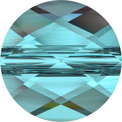 Swarovski Crystal 8mm Faceted Flat Mini Round Bead 5052 - Light Turquoise - Transparent Finish