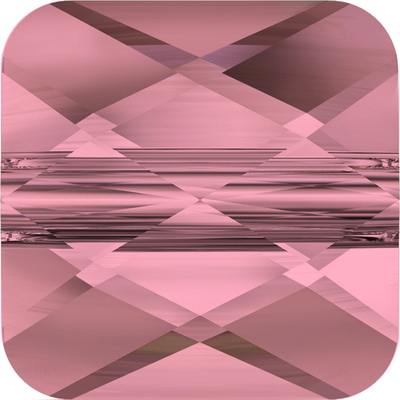 Swarovski 6mm Faceted Flat Mini Square Bead 5053 - Crystal Antique Pink - Transparent Finish