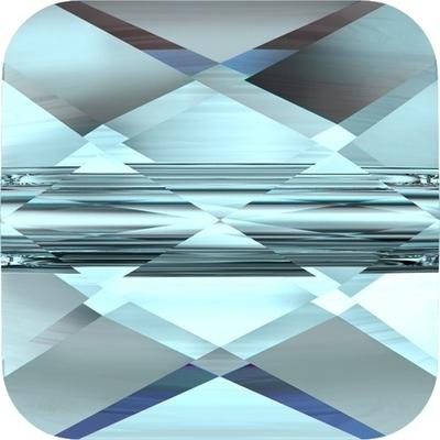 Swarovski Crystal 6mm Faceted Flat Mini Square Bead 5053 - Aquamarine - Transparent Finish