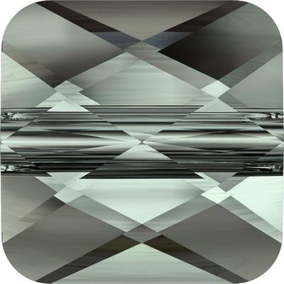 Swarovski Crystal 6mm Faceted Flat Mini Square Bead 5053 - Black Diamond - Transparent Finish