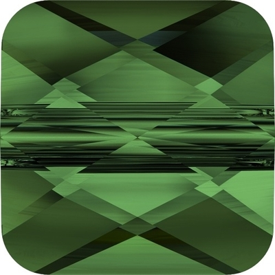 Swarovski Crystal 6mm Faceted Flat Mini Square Bead 5053 - Fern Green - Transparent Finish