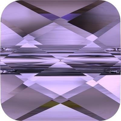 Swarovski Crystal 6mm Faceted Flat Mini Square Bead 5053 - Tanzanite Purple - Transparent Finish