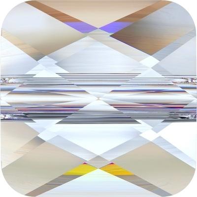 Swarovski Crystal 8mm Faceted Flat Mini Square Bead 5053 - Crystal AB - Transparent Iridescent Finish
