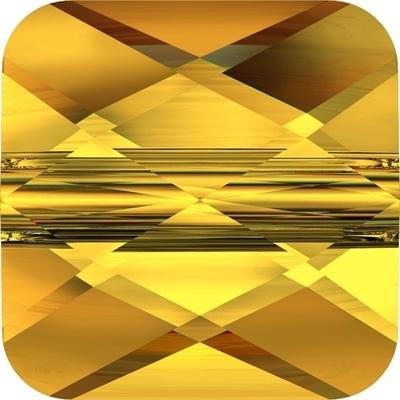 Swarovski Crystal 8mm Faceted Flat Mini Square Bead 5053 - Sunflower Yellow - Transparent Finish