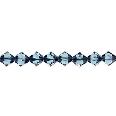 Swarovski Crystal 3mm Bicone Bead 5328 - Denim Blue - Transparent Finish