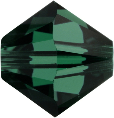 Swarovski Crystal 3mm Bicone Bead 5328 - Emerald - Dark Green - Transparent Finish
