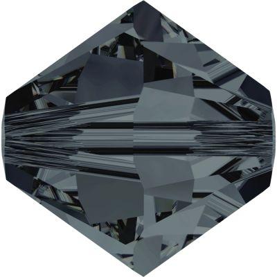 Swarovski Crystal 3mm Graphite Bicone Bead 5328 with Transparent Finish