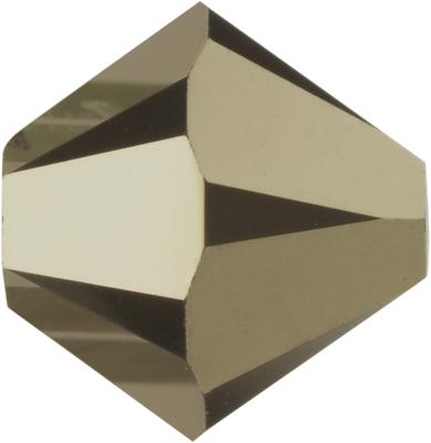 Swarovski Crystal 3mm Bicone Bead 5328 - Crystal Metallic Light Gold 2X - Full Coat Finish