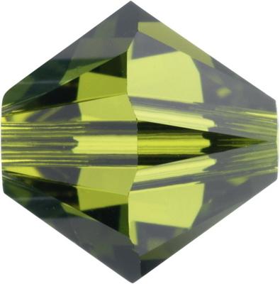 Swarovski Crystal 3mm Bicone Bead 5328 - Olivine - Olive Green - Transparent Finish
