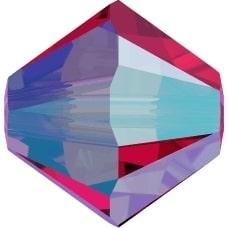 Swarovski Crystal Beads 4mm bicone 5328 scarlet ab 2X transparent double iridesc | bicone 5328