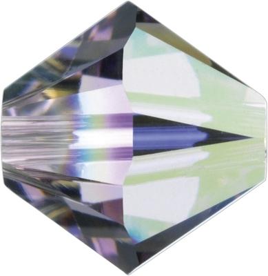 Swarovski Crystal 4mm Bicone Bead 5328 - Light Amethyst AB - Light Purple - Transparent Iridescent Finish