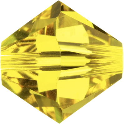Swarovski Crystal 4mm Bicone Bead 5328 - Citrine - Yellow - Transparent Finish