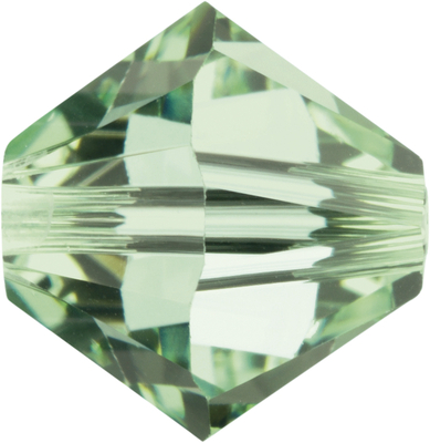 Swarovski Crystal 4mm Bicone Bead 5328 - Chrysolite - Pale Green - Transparent Finish