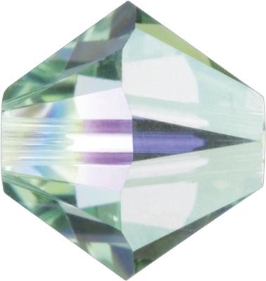 Swarovski Crystal 4mm Bicone Bead 5328 - Chrysolite AB - Pale Green - Transparent Iridescent Finish