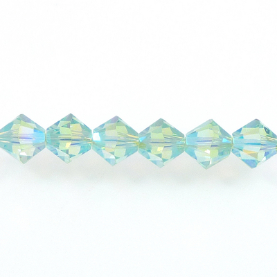 Swarovski Crystal 4mm Bicone Bead 5328 - Chrysolite AB 2X - Pale Green - Transparent Double Iridescent Finish