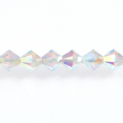 Swarovski Crystal 4mm Bicone Bead 5328 - Crystal AB 2X - Clear - Transparent Double Iridescent Finish