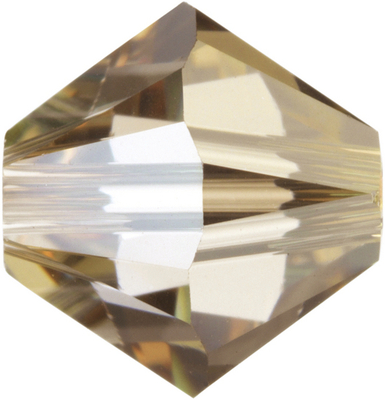 Swarovski Crystal 4mm Bicone Bead 5328 - Crystal Golden Shadow - Transparent with Finish