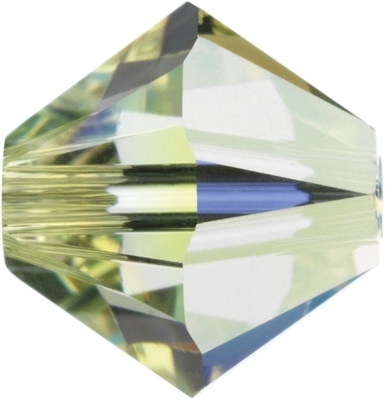 Swarovski Crystal 4mm Bicone Bead 5328 - Jonquil AB - Pale Yellow - Transparent Iridescent Finish