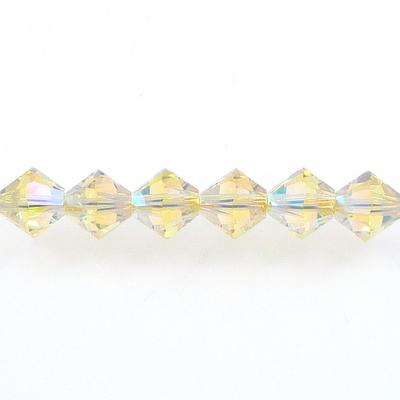 Swarovski Crystal 4mm Bicone Bead 5328 - Jonquil AB 2X - Pale Yellow - Transparent Double Iridescent Finish