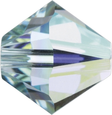Swarovski Crystal 4mm Bicone Bead 5328 - Light Azore AB - Pale Aqua Blue - Transparent Iridescent Finish