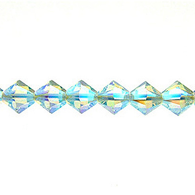 Swarovski Crystal 4mm Bicone Bead 5328 - Light Azore AB 2X - Pale Aqua Blue - Transparent Double Iridescent Finish