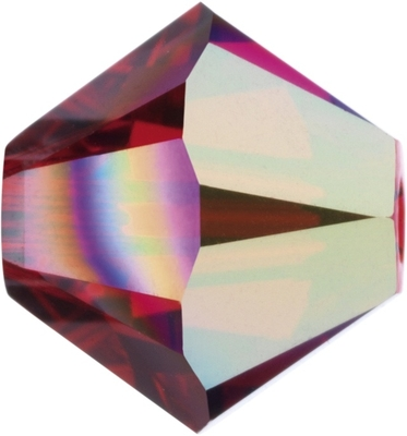 Swarovski Crystal 4mm Bicone Bead 5328 - Light Siam AB - Light Red - Transparent Iridescent Finish