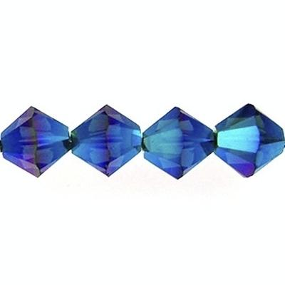 Swarovski Crystal 4mm Bicone Bead 5328 - Montana AB 2X - Greyish Blue - Transparent Double Iridescent Finish