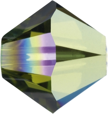 Swarovski Crystal 4mm Bicone Bead 5328 - Olivine AB - Olive Green - Transparent Iridescent Finish