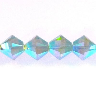 Swarovski Crystal 4mm Bicone Bead 5328 - Pacific Opal AB 2X - Blue Green - Opalescent Double Iridescent Finish