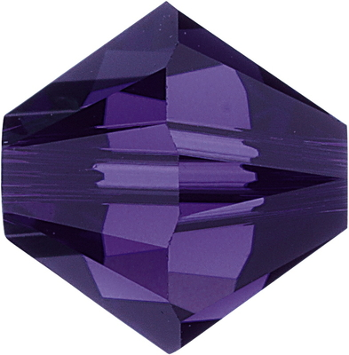 Swarovski Crystal 4mm Bicone Bead 5328 - Purple Velvet - Dark Royal Purple - Transparent Finish