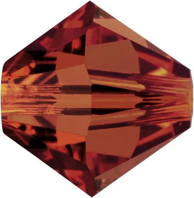 Swarovski Crystal 4mm Bicone Bead 5328 - Crystal Red Magma - Transparent Iridescent Finish