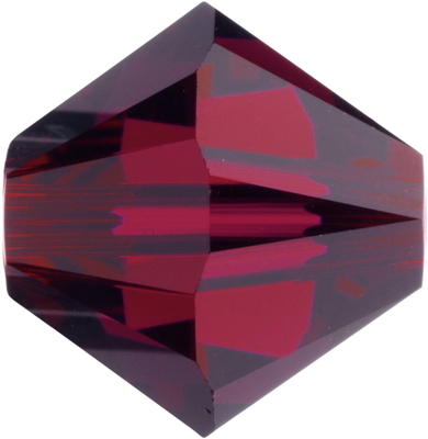 Swarovski Crystal 4mm Bicone Bead 5328 - Ruby - Dark Fuchsia Pink - Transparent Finish