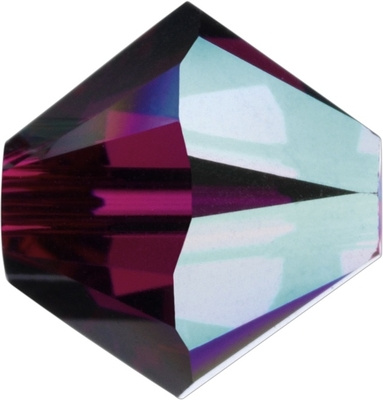 Swarovski Crystal 4mm Bicone Bead 5328 - Ruby AB - Dark Fuchsia Pink - Transparent Iridescent Finish