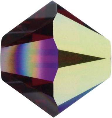 Swarovski Crystal 4mm Bicone Bead 5328 - Siam AB - Deep Red - Transparent Iridescent Finish