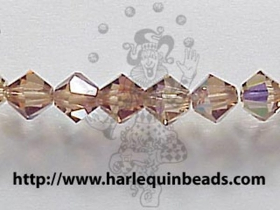 Swarovski Crystal 4mm Bicone Bead 5328 - Light Smoked Topaz AB - Brown - Transparent Iridescent Finish