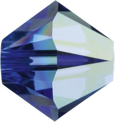 Swarovski Crystal 4mm Bicone Bead 5328 - Sapphire AB - Blue - Transparent Iridescent Finish